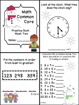 Second Grade Common Core Math Practice Book: January Edition