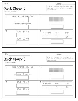 2nd Grade Common Core Math Quick Checks- Numbers and Operations in Base Ten