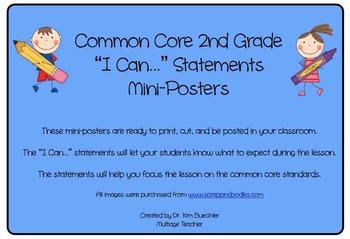 Second Grade Common Core Math Standards Mini-Posters