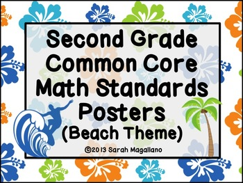 Second Grade Common Core Math Standards Posters: Beach Theme