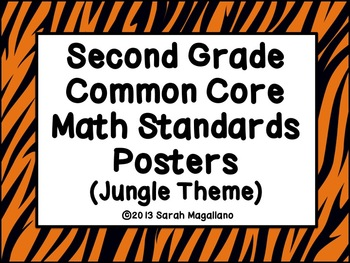 Second Grade Common Core Math Standards Posters: Jungle Theme