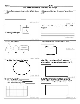 Second Grade Common Core Math Unit Five- Geometry and Fractions