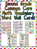 Second Grade Common Core Math Vocabulary Word Wall Cards