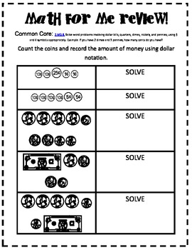second grade common core math for me review for time and money tpt. Black Bedroom Furniture Sets. Home Design Ideas
