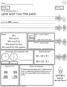 Second Grade Morning Work & Movement - Spiral Review or Homework - March Set 7