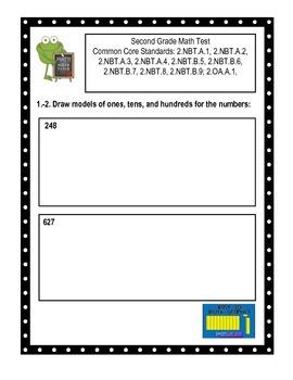 Second Grade Common Core Place Value Math Assessment