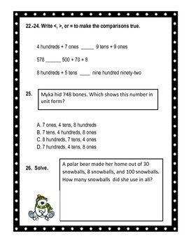 Second Grade Common Core Place Value Math Assessment