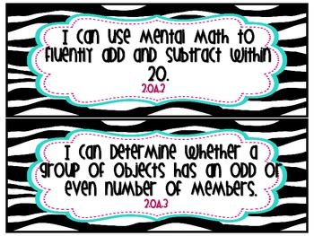 Second Grade Common Core Posters (Math and ELA)- I Can Statements- Zebra Theme