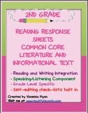 Second Grade Common Core Reading Response Sheets