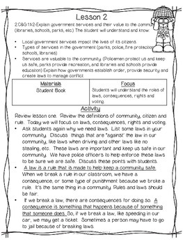 Second Grade Common Core Social Studies/Civics and Governance