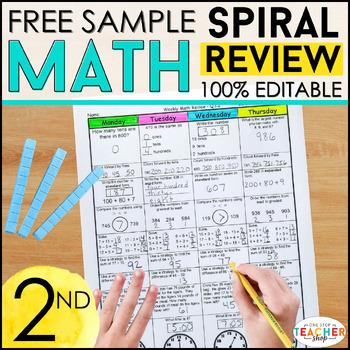2nd Grade Math Spiral Review | 2 Weeks FREE