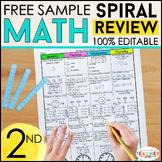 2nd Grade Math Spiral Review   2 Weeks FREE