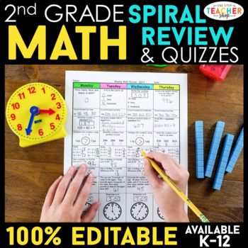 2nd Grade Math Spiral Review | 2nd Grade Math Homework or 2nd Grade Morning Work