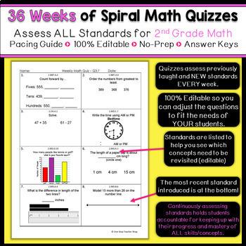 2nd Grade Math Spiral Review   2nd Grade Math Homework ENTIRE YEAR