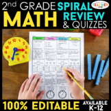 2nd Grade Math Spiral Review Distance Learning Packet | 2nd Grade Math Homework