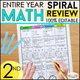 2nd Grade Math Spiral Review & Quizzes | Homework or Morning Work