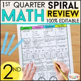 2nd Grade Math Spiral Review | 2nd Grade Math Homework | 1st QUARTER