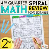 2nd Grade Math Spiral Review | 2nd Grade Math Homework | 4th QUARTER