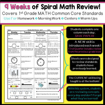 2nd Grade Math Review | Homework or Morning Work | 2nd Quarter