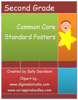 Second Grade Common Core Standard Posters - Kid Friendly! - 91 Pages!
