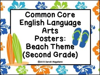 Second Grade Common Core Standards ELA Posters: Beach Theme