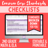 Common Core Checklist - Second Grade ELA & Math Bundle