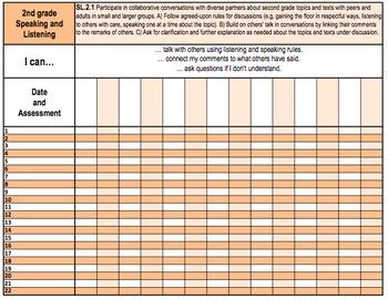 Second Grade Common Core Standards Gradebook