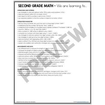 Second Grade Common Core Standards Parent Handouts