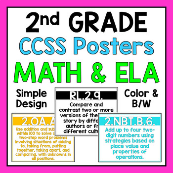 Second Grade Common Core Standards Posters
