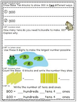 Second Grade Common Core State Standard Beginning & End of Year Math Assessments