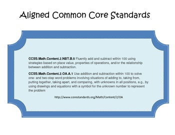 Ticket Out 2nd Grade Math Common Core Assessment for Add. and Sub. Color Version