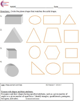 Second Grade Common Core Math Worksheets Geometry 2.G.A.1, 2.G.A.2 ...