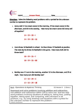 2.OA.1 Word Problems Second Grade Common Core Math Worksheets 2.OA.A.1