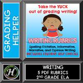 Second Grade Common Core Writing & Spelling Dictation Rubrics