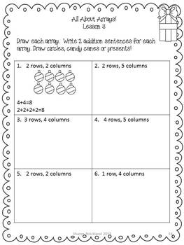 Second Grade Common Core Math-Arrays-2.OA.4-Christmas Themed