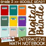 Second Grade DIGITAL Math Interactive Notebook BUNDLE   2nd Grade Math TEKS