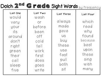Second Grade DOLCH Sight Word Pack