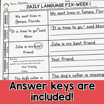 Second Grade Daily Language Fix for February