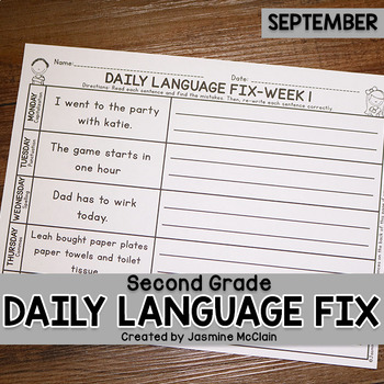 Second Grade Daily Language Fix for September