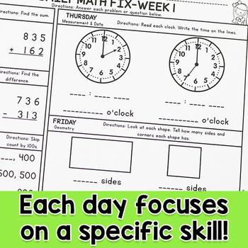 Second Grade Daily Math Fix for December