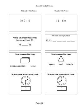 Second Grade Daily Math Review
