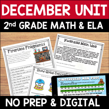 Digital and Printable December Literacy and Math Bundle for Second Grade