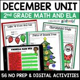 December Digital & NO PREP Printable Math & ELA Activities