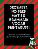 Second Grade December NO PREP Math and Literacy Bundle