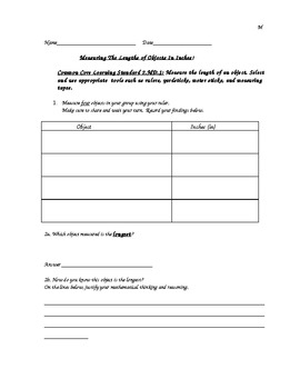 Second Grade Differentiated Measurement Worksheets