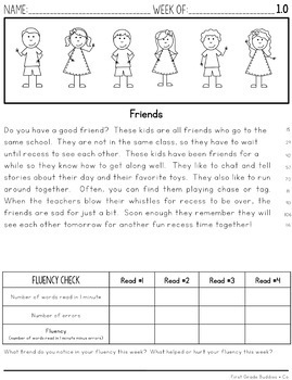 2nd Grade Differentiated Reading Fluency Passages with Comprehension ...
