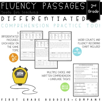 Second Grade Differentiated Reading Passages with Comprehe