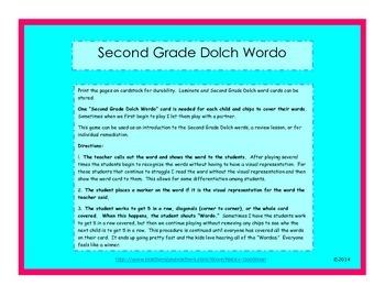 Second Grade Doich Wordo game