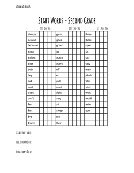 Second Grade Dolch Sight Word Assessment Sheets