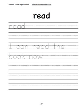 Second Grade Dolch Sight Word Handwriting